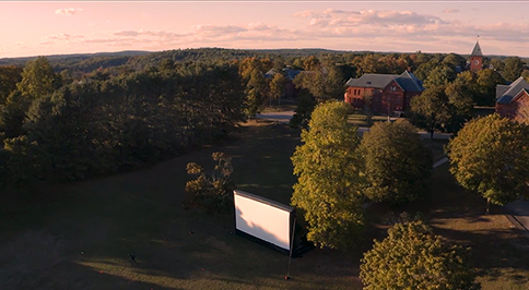 Coolidge Corner outdoor drive-in movie series - aerial view of screen